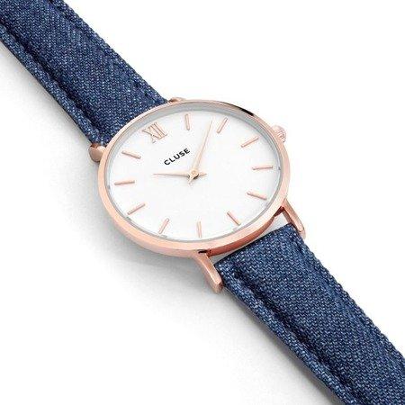 Zegarek damski Cluse Minuit Rose Gold White/Blue Denim CL30029