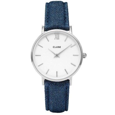 Cluse Minuit Silver White/Blue Denim CL30030